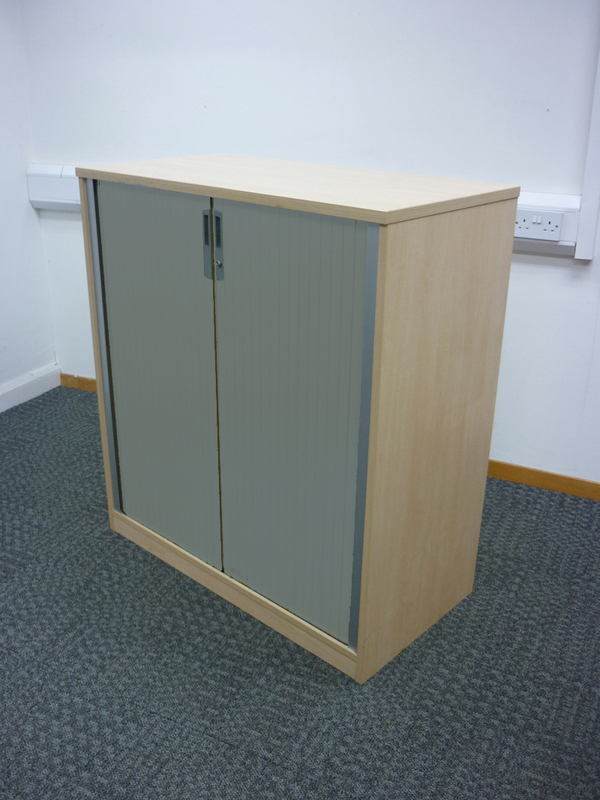 Ofquest maple 1100mm high tambour cupboard