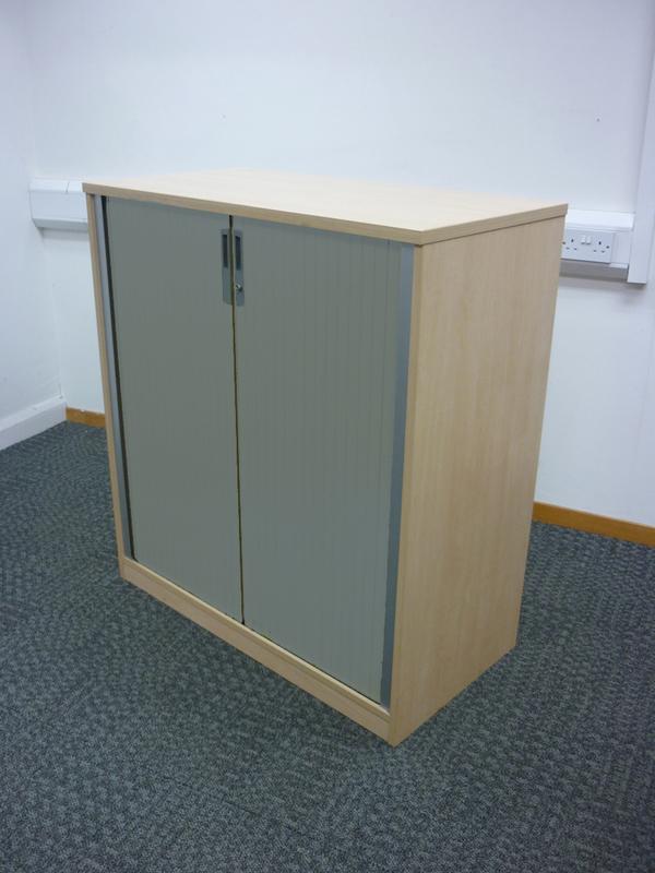 Ofquest maple 1100mm high tambour cupboard