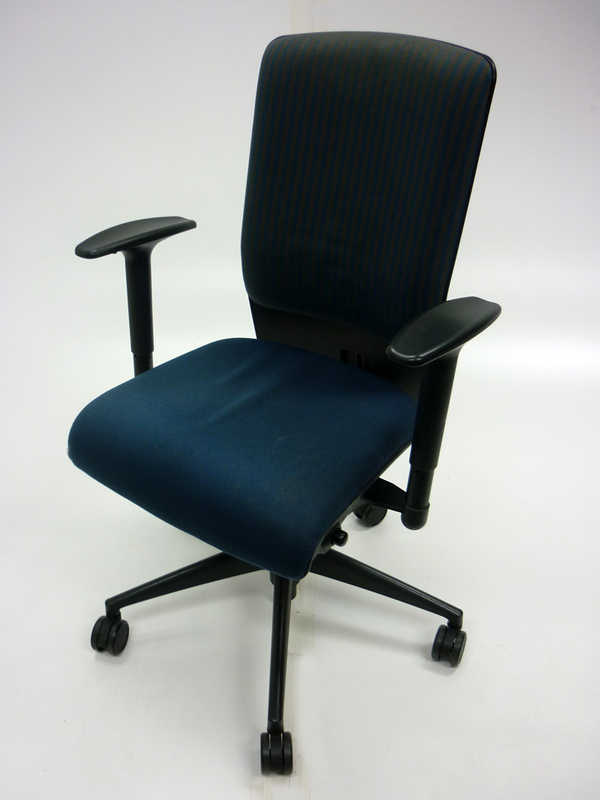 Girsberger blue and grey task chair with arms