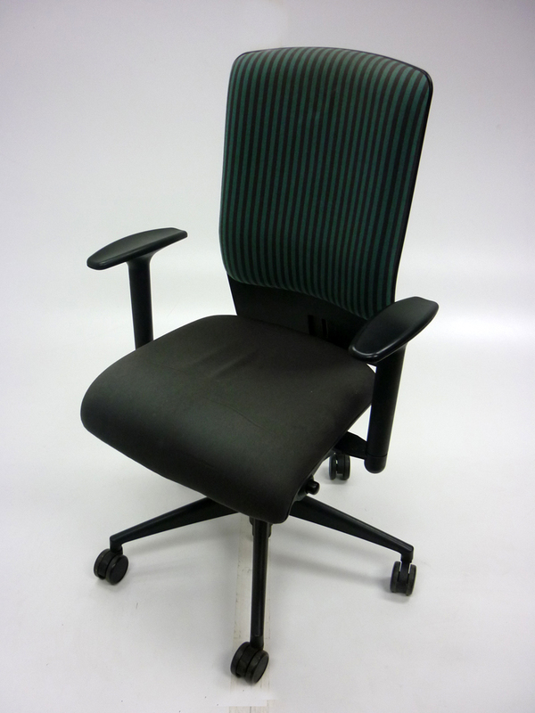 Girsberger green and grey task chair with arms