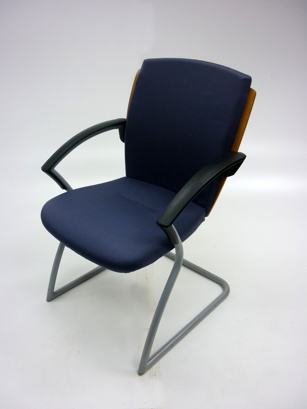 Blue Sedus beech wood back meeting chairs