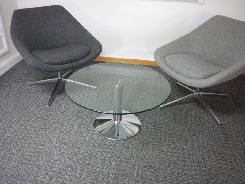 circular low glass coffee table