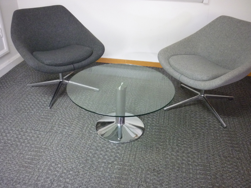circular low glass coffee table
