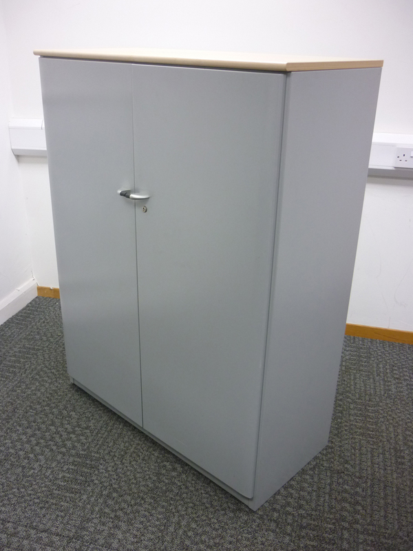 1325mm high Steelcase silver/maple metal cupboards