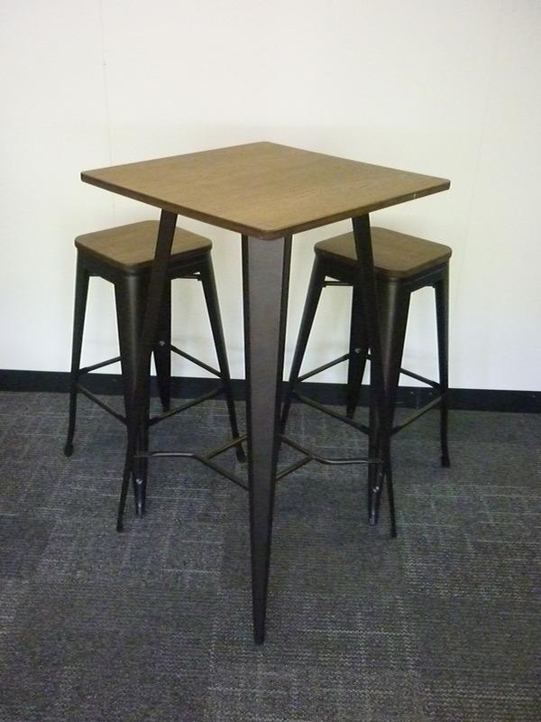 Oak poseur table and stool set