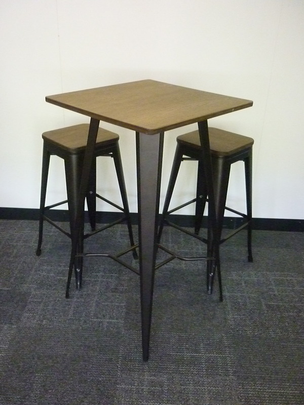 Oak poseur table and stool set