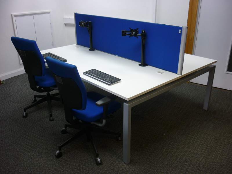 Large white bench desking