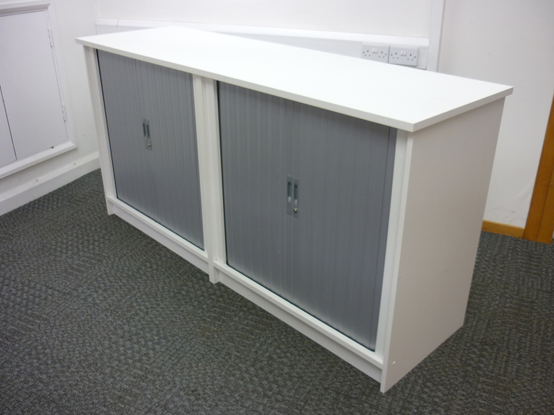 1000mm high white double width tambour cupboards
