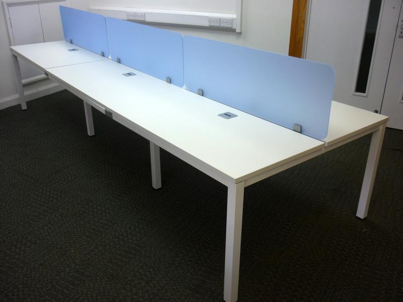 Balma G4 white bench desks in various sizes