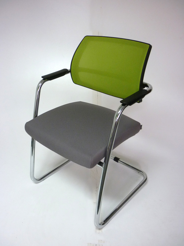 Grey amp lime green Sitland mesh meeting chairs