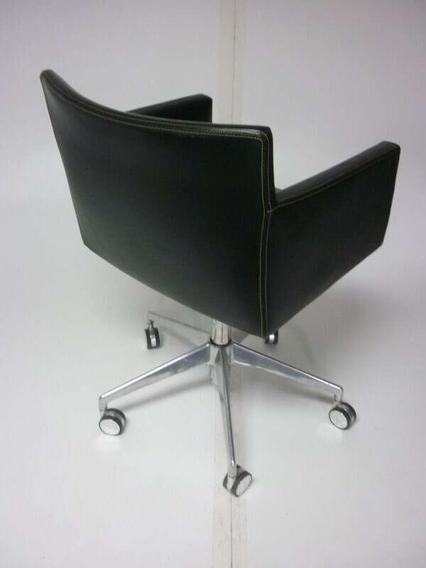 Black leather square mobile meeting chairs