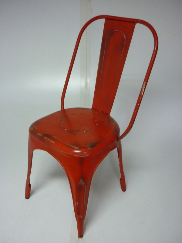 Tolix red metal dining chair