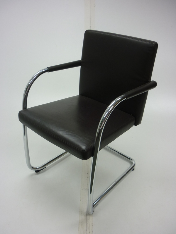 Vitra Visasoft brown leather meeting chairs