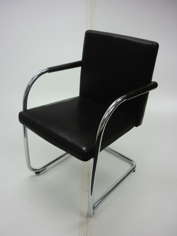 Vitra Visasoft black leather meeting chairs