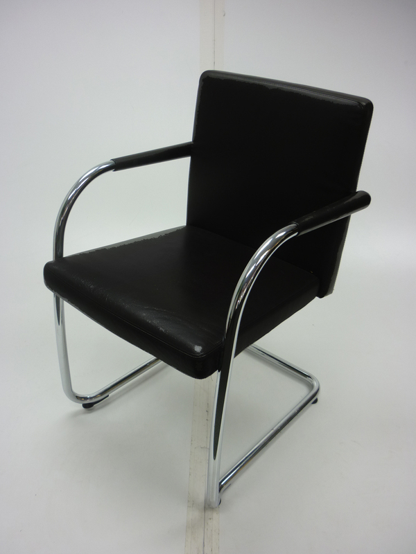 Vitra Visasoft black leather meeting chairs