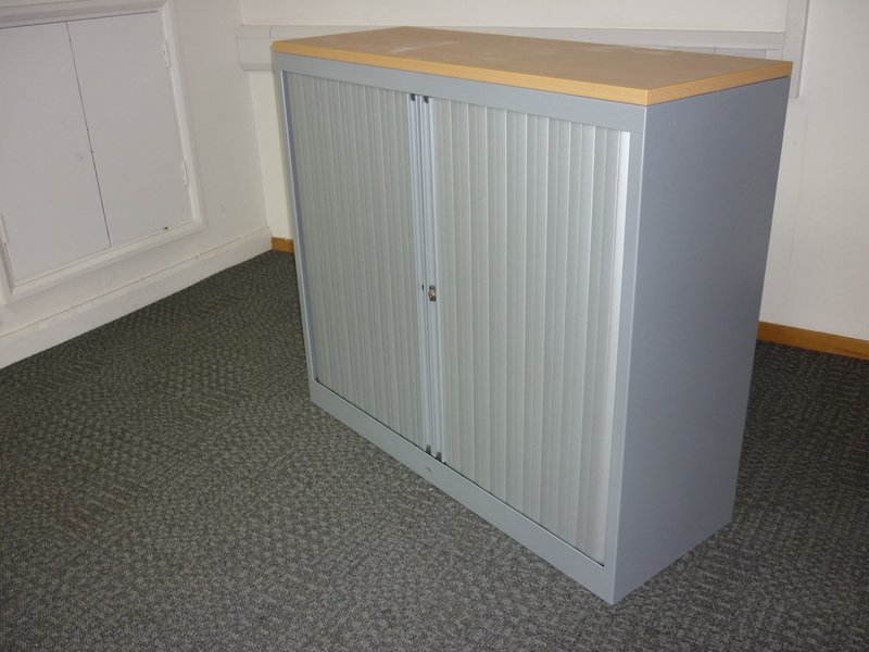 1200mm high silver/beech tambour cupboards