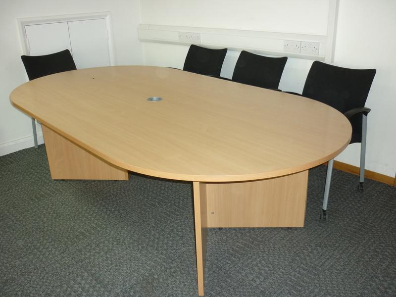 Beech D end table
