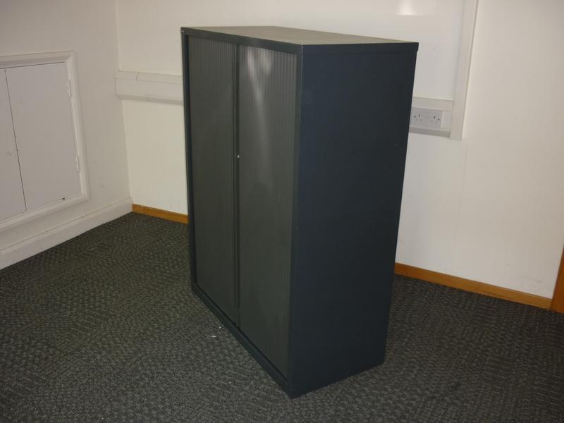1320mm high black metal tambour front cupboard