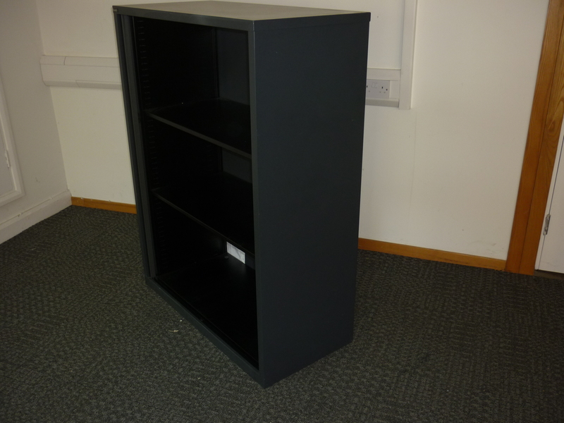 1320mm high black metal open front storage unit
