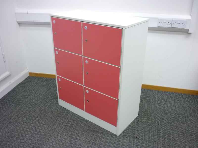 6 compartment coloured door locker unit