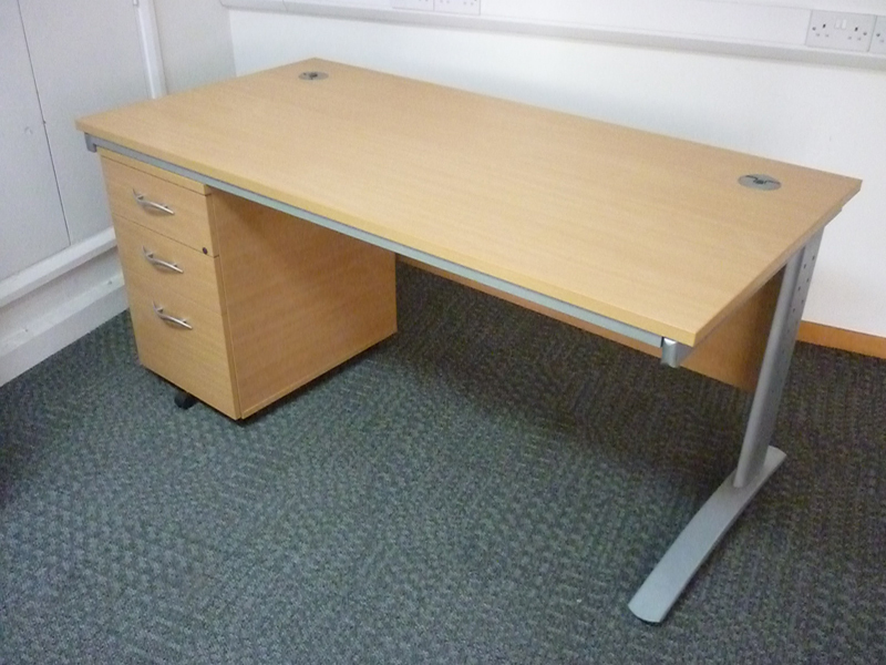 1600x800mm beech desks with pedestal