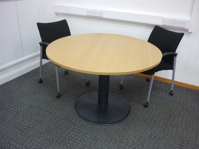 1200mm diameter oak circular meeting tables