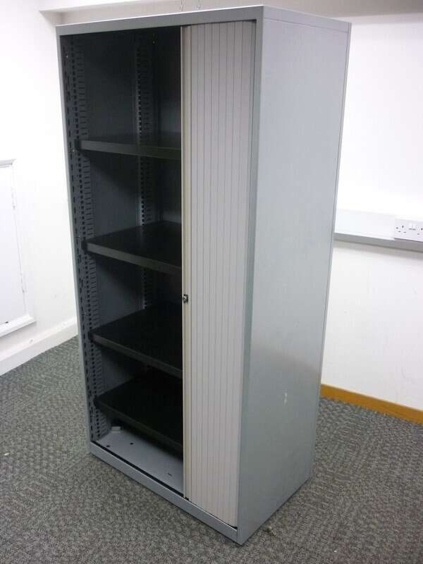 Bisley 1660mm high silver side tambour