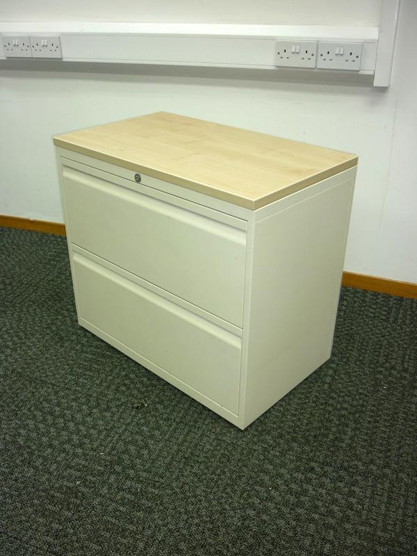 Bisley cream/maple 800mm wide 2 drawer side filer