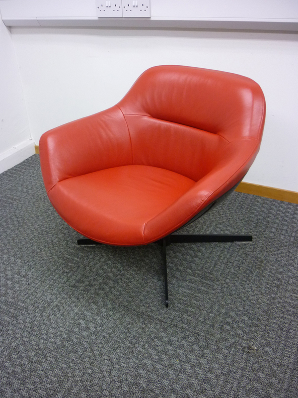 Red leather designer tub chairs