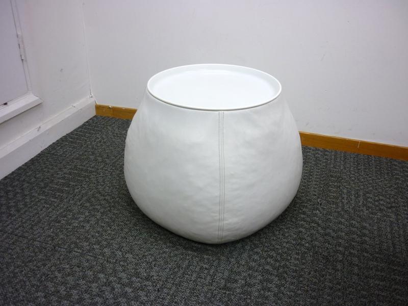 BampB Italia FatLady white leather coffee table