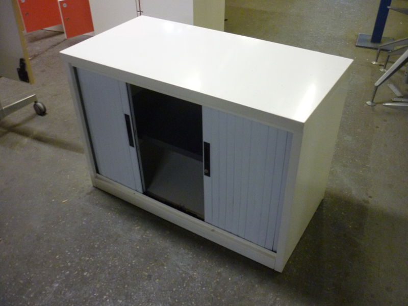 White desk high tambour cupboard