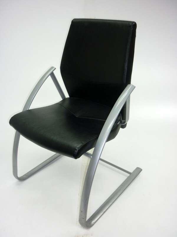 Black leather Verco Focus meeting chairs