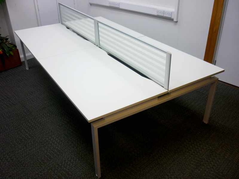 White bench desks 1400x800mm tops and screens