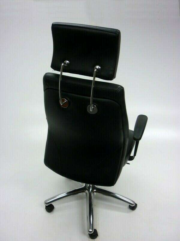 Elite Opula black leather executive chair with headrest