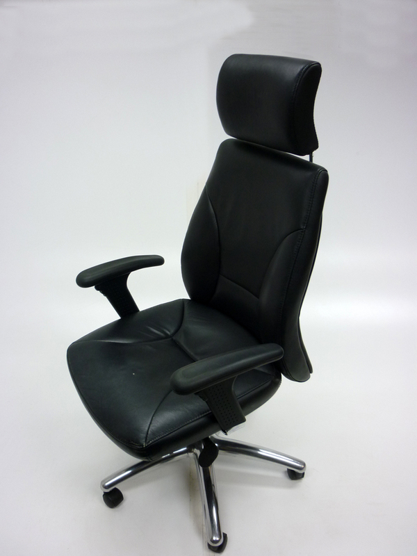 Black leather executive chair with headrest