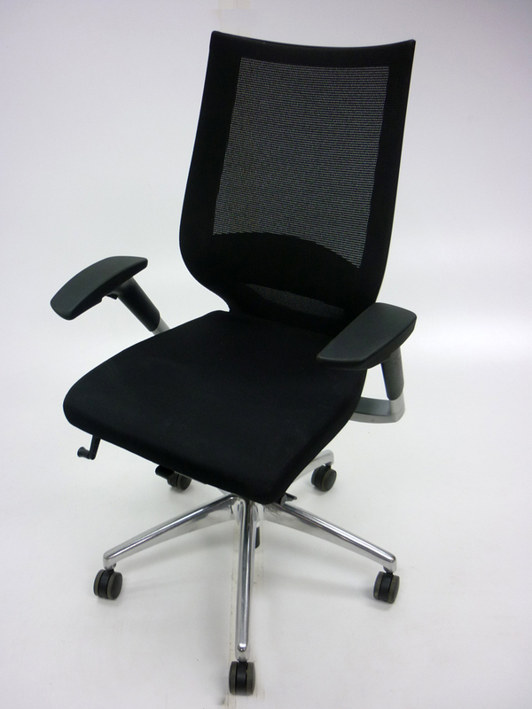 Mobili Fortis black mesh back task chairs with arms