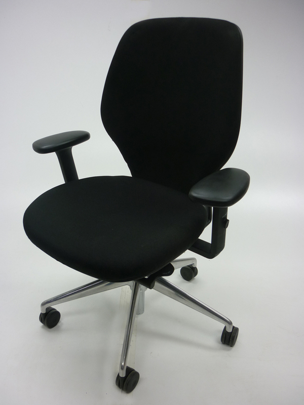 Orangebox ARA black task chair with arms