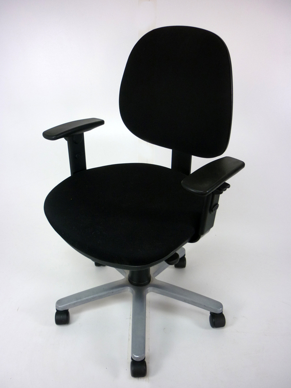 Mid back black operator chair with arms