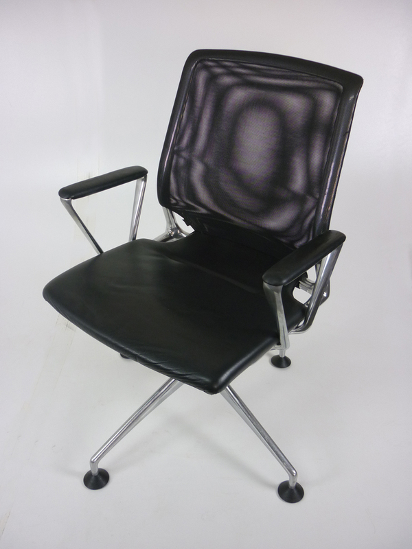 Vitra Meda black leather amp mesh conference chair