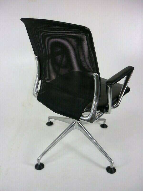 Vitra Meda black leather & mesh conference chair