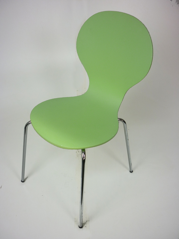 Lime green Julian Bowen stacking plywood chairs