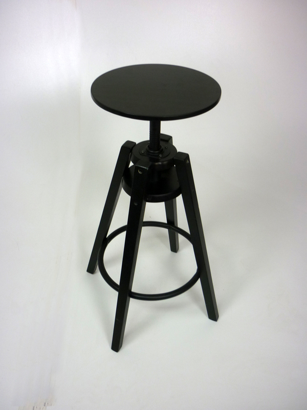 Ikea black wooden spinning stool