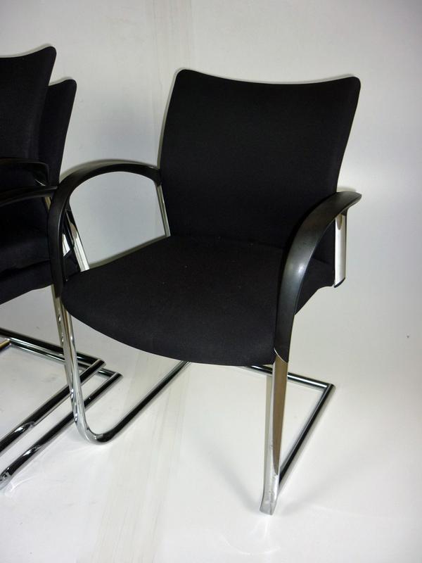 Senator Trillipse black chrome cantilever stacking chair