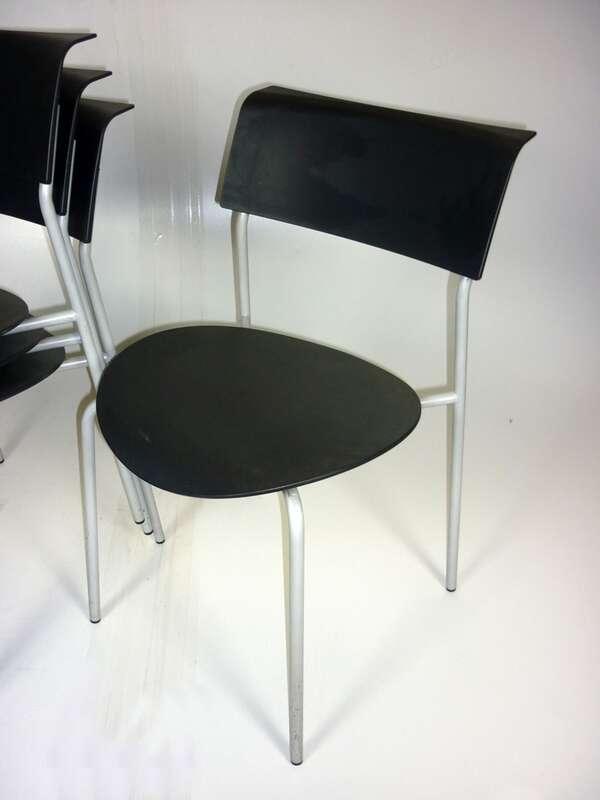 Black plastic Allermuir Lip stacking chair