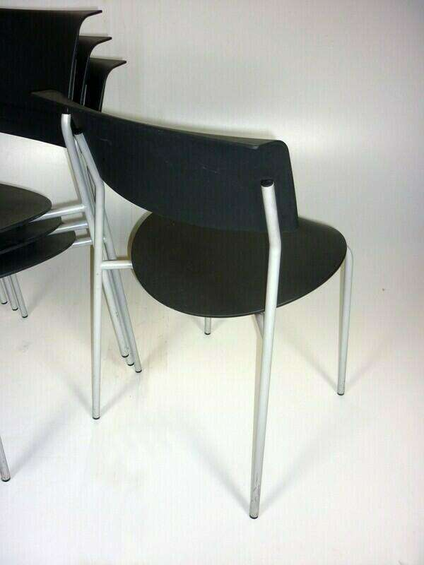 Black plastic Allermuir Lip stacking chair