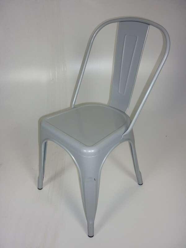Light grey Talix style metal café chairs
