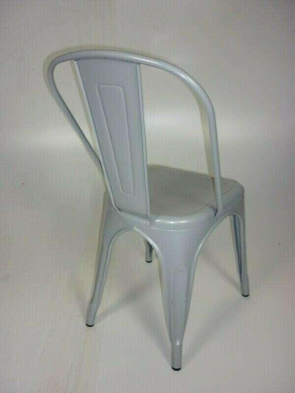 Light grey Tolix style metal café chairs