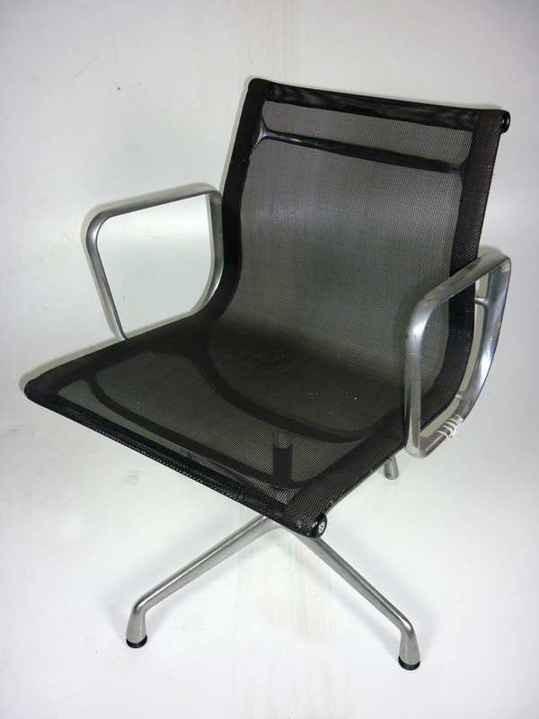 Vitra Aluminium Chairs EA108 black mesh chairs