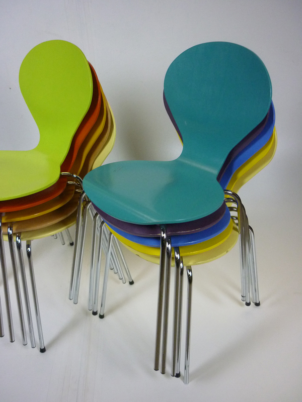 Multi-coloured plywood stacking cafe chairs