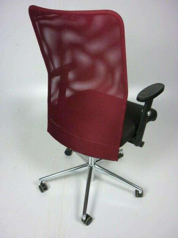 Techo SCIO burgundy/brown mesh back task chairs